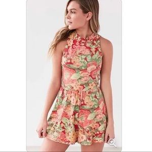Urban Outfitters Red Floral Romper Playsuit M